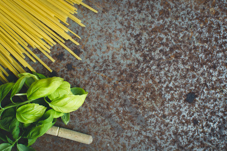Pasta spaghetti with basil