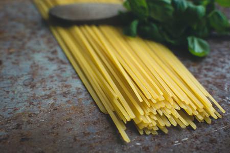 Pasta spaghetti with basil