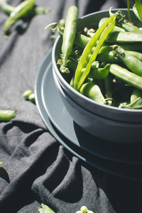 Peas from garden in bowl