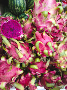 Pink dragon fruits aerial