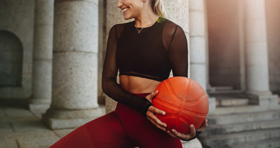 Smiling woman doing fitness workout