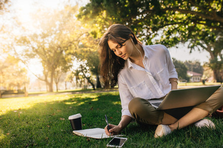 Freelancer woman working while sitting at park