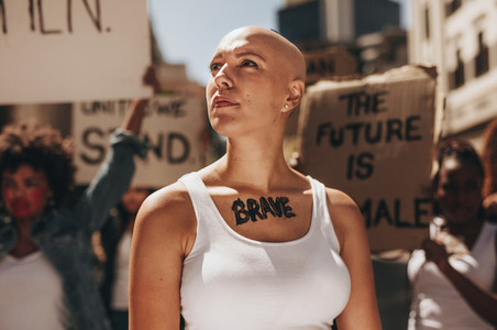 Activist demonstrating women bravery