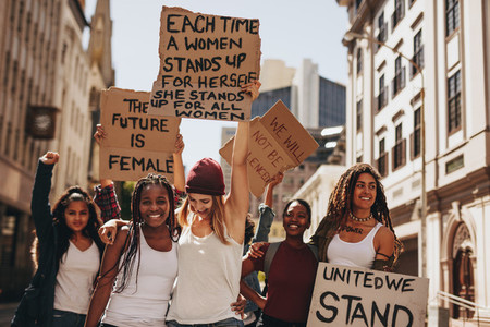 Demonstrators enjoying during a protest for women