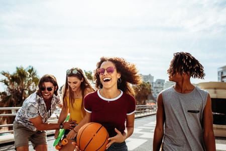 Group of multi ethnic friends enjoying outdoors