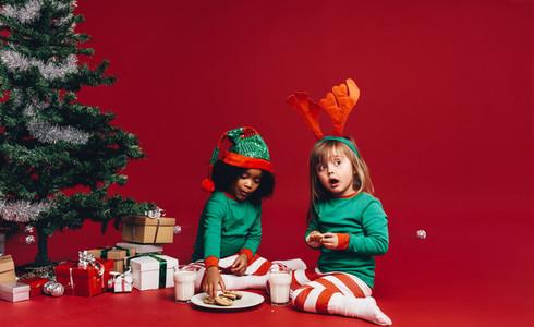 Two Kids sharing christmas cookies