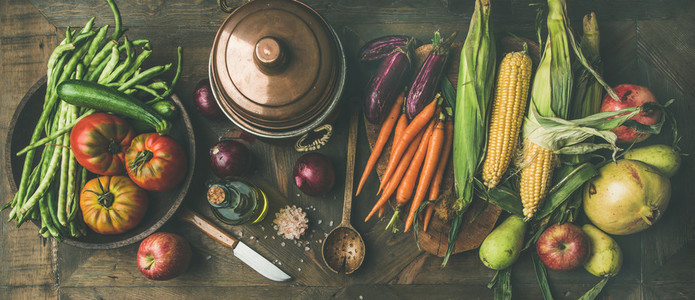 Autumn healthy ingredients for Thanksgiving day dinner preparation