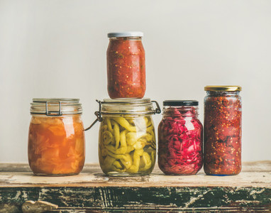 Autumn seasonal pickled or fermented vegetables copy space