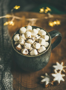 Christmas winter hot chocolate served with light garland and sweater