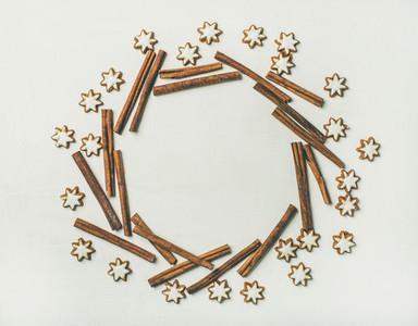 Christmas wreath made from star sugar cookies and cinnamon sticks
