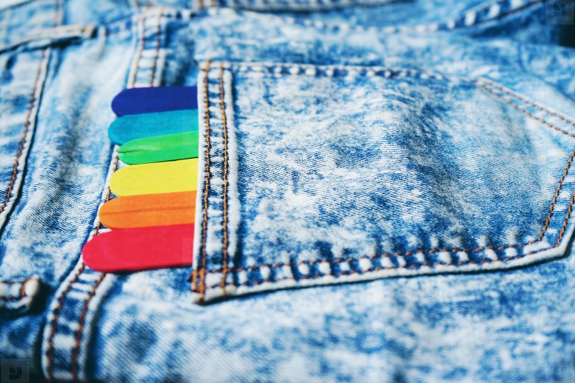 Denim poket with colorful sticks