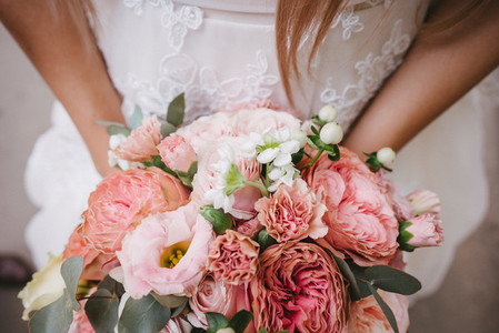 Bride with bouquet  closeup