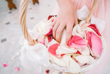 Hands grab rose petals