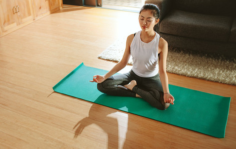 Healthy woman exercising yoga in living room
