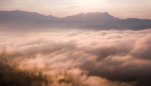 Majestic sunrise over mountains