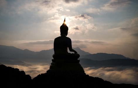 Buddha stature on misty dawn