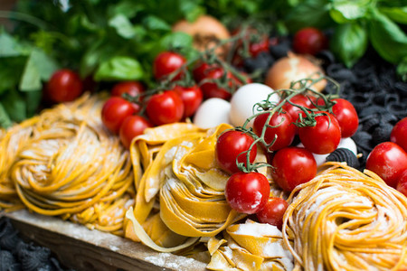 Pasta  tomatoes and ingredients