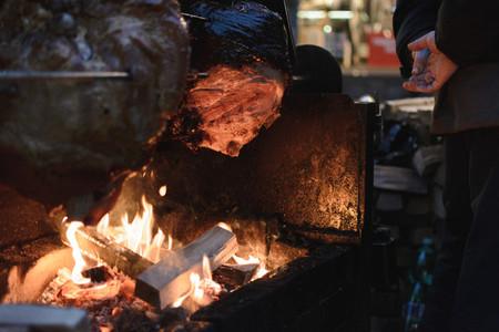 Prague ham on Christmas market