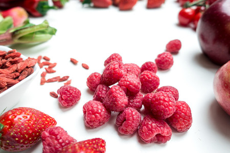 Raspberries and other red fruit