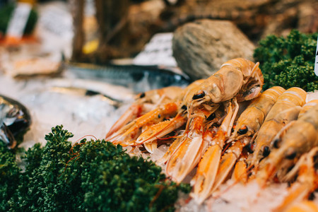 Raw langoustines for sale