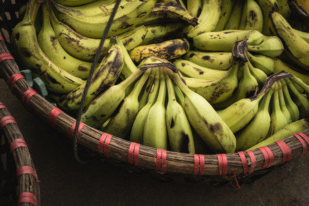 Ripe bananas in basket