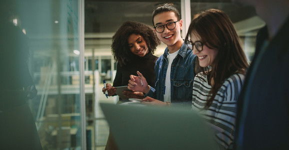 Students enjoying studying at university workshop