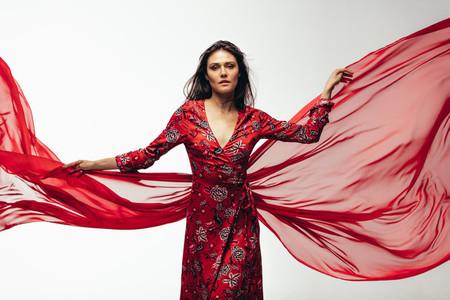 Woman posing in beautiful dress