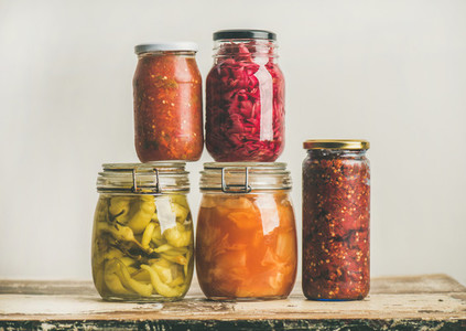 Autumn seasonal pickled or fermented vegetables Home food preserving