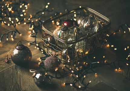 Christmas tree toy decoration balls in box and light garland
