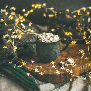 Christmas winter hot chocolate with marshmallows square crop