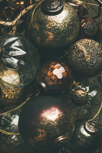 Vintage Christmas or New Year holiday decoration balls vertical composition