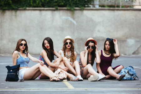 Five beautiful young girls relaxing
