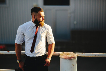businessman looks into the distance