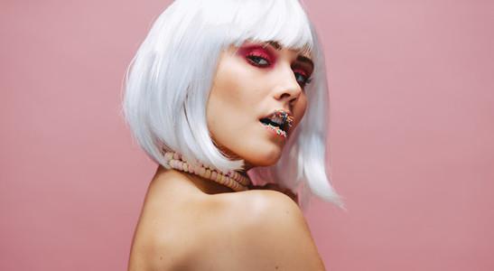 Fashion model with creative make up