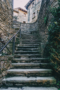 Stone ascendant stairs in a medieval village