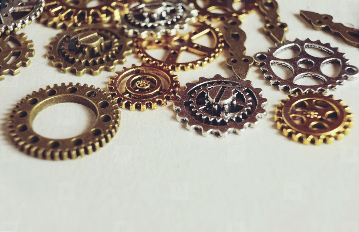 A steampunk and ancient macro about machinery made of bronze  si