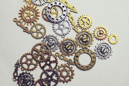 A steampunk and ancient flat macro about machinery made of bronz