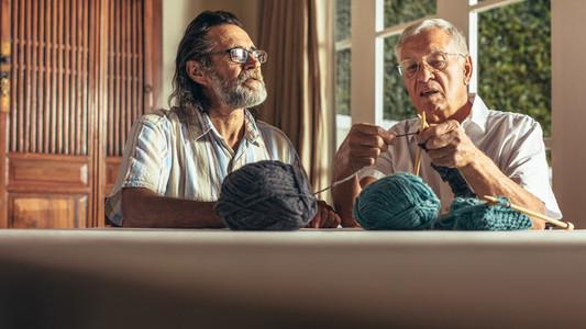 Active seniors knitting at home