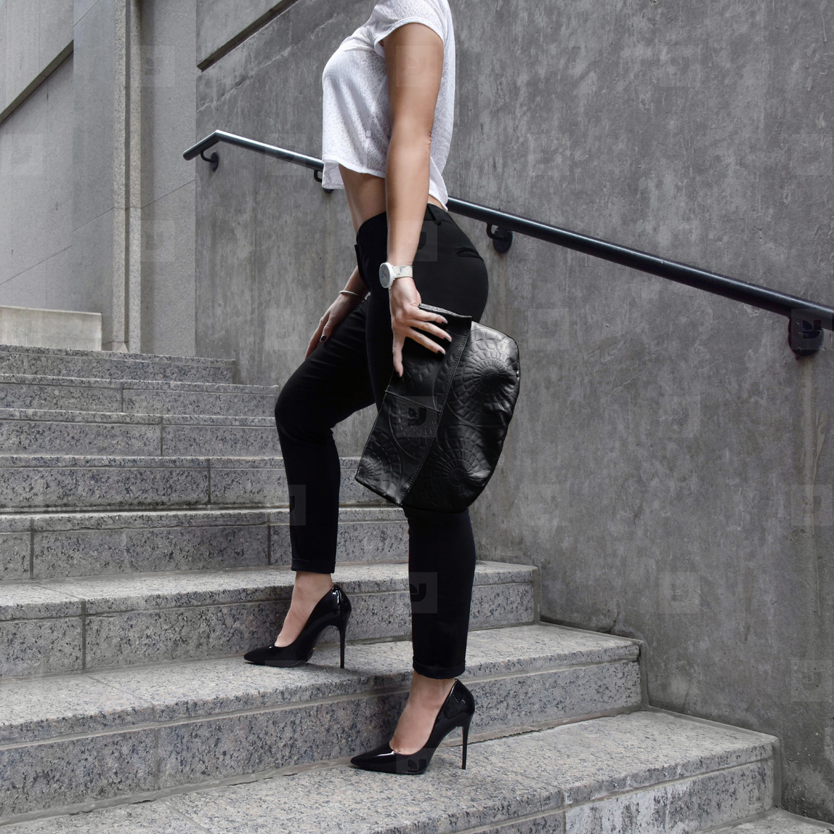 Model on Stairs