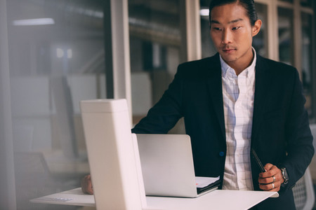 Businessman working on laptop standing in office