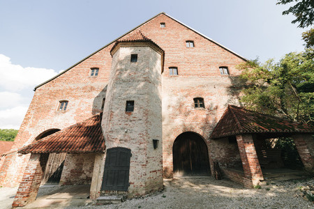 Views of a typical bavarian cottage near of the Trausnitz castle in the German city of Landshut