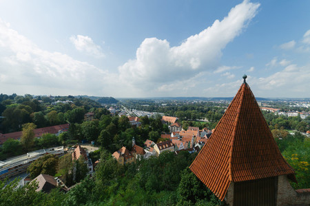 Views of the river Isar going through the landshut city in germany from Trausnitz castle ca