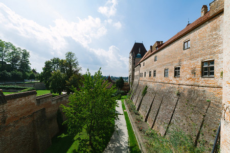 Views of the battlement of the Trausnitz castle in the German city of Landshut