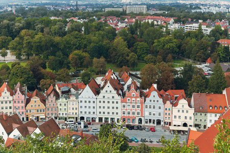 views of the streets of the city of landshut from a nearby hill