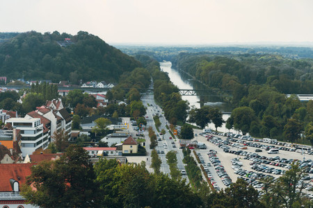 Views of the river Isar going through the landshut city in germany