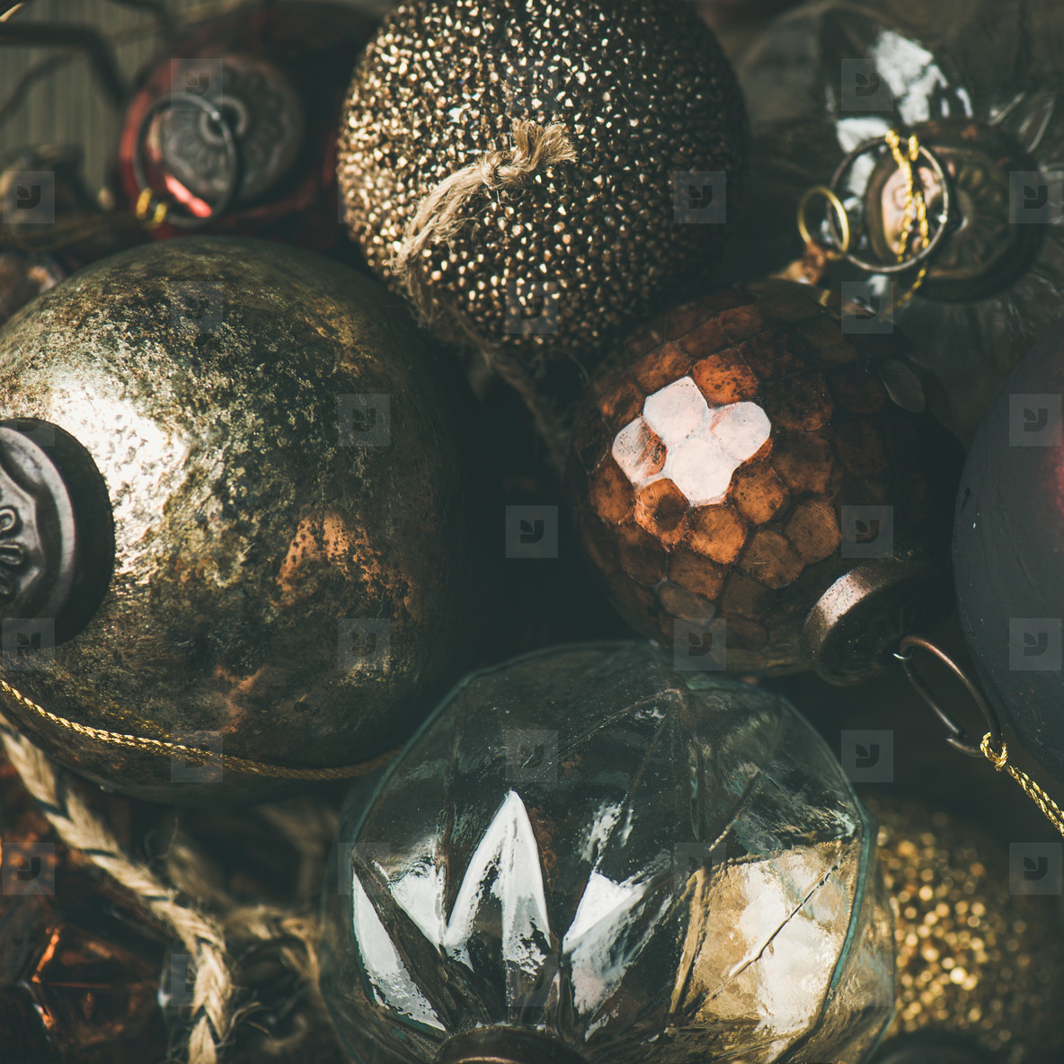 Vintage Christmas or New Year holiday decoration balls  square crop