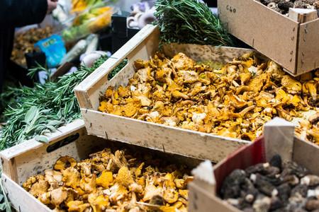 Dried mushrooms at market