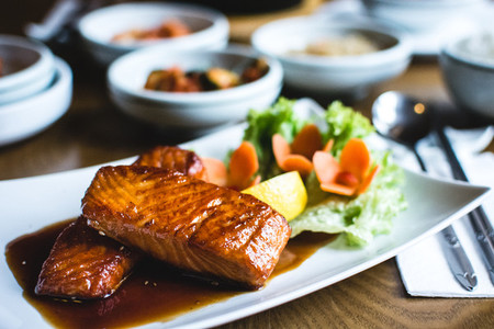 Korean fried salmon