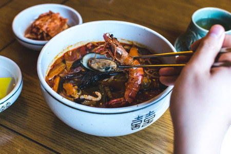 Korean spicy seafood soup