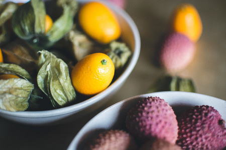 Kumquats and litchi fruit